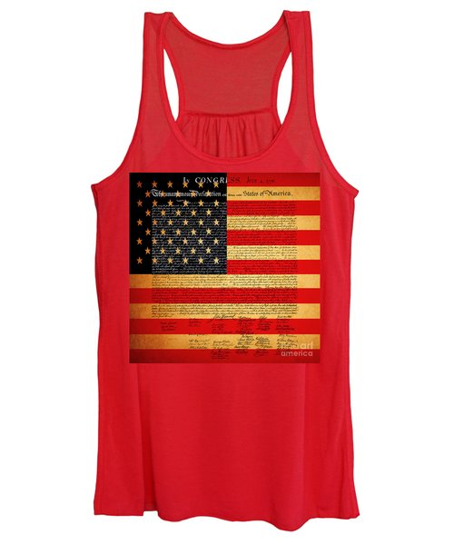 The United States Declaration Of Independence - American Flag - Square Women's Tank Top