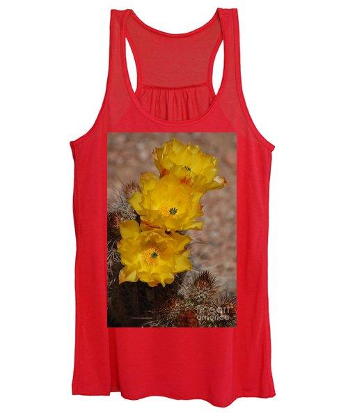 Three Yellow Cactus Flowers Women's Tank Top