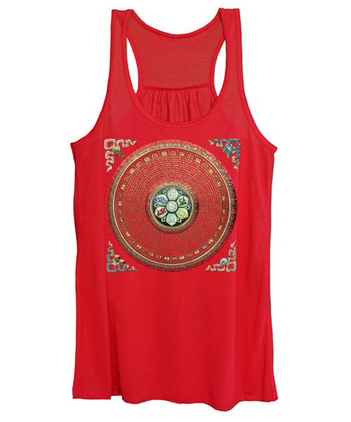 Tibetan Om Mantra Mandala In Gold On Black And Red Women's Tank Top