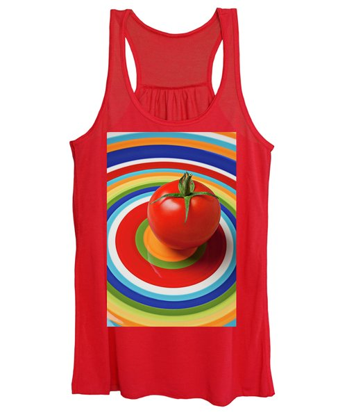 Tomato On Plate With Circles Women's Tank Top