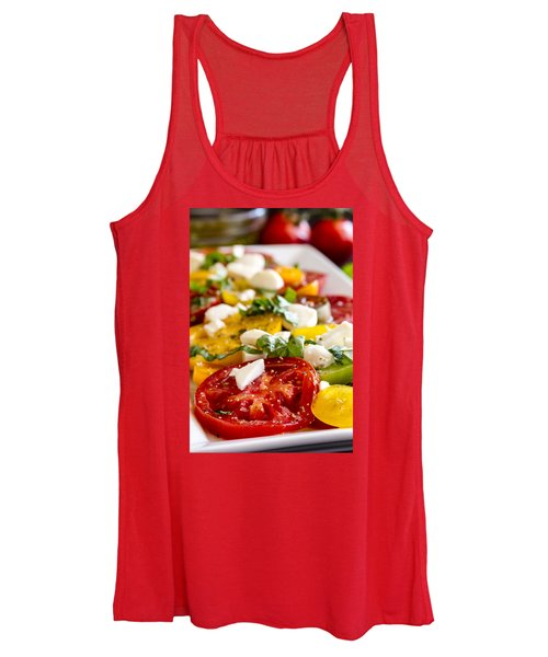 Tomatoes, Basil And Cheese Women's Tank Top