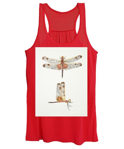 Top And Side Views Of A Male Calico Pennant Dragonfly Women's Tank Top