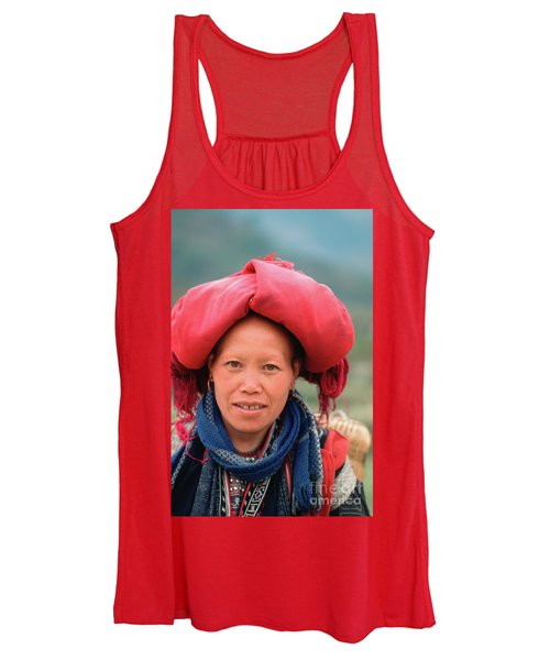 Traditional Fashion Of A Red Dzao Woman Women's Tank Top