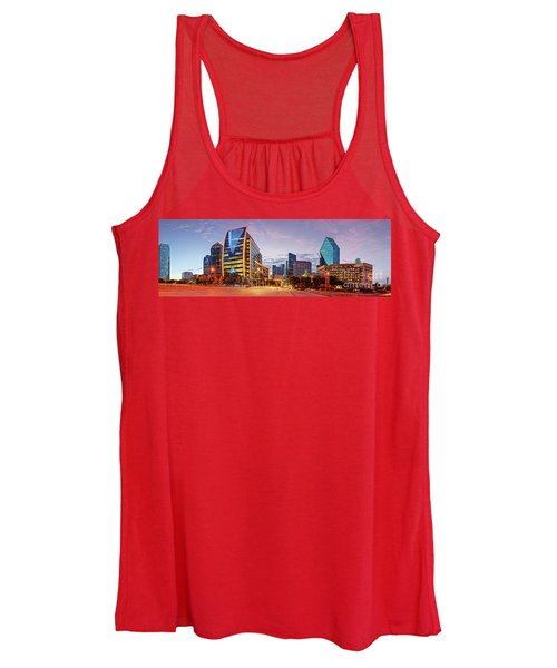 Twilight Panorama Of Downtown Dallas Skyline - North Akard Street Dallas Texas Women's Tank Top