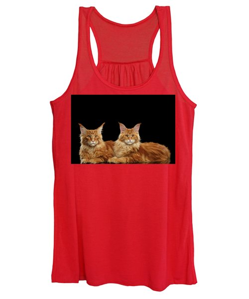 Two Ginger Maine Coon Cat On Black Women's Tank Top