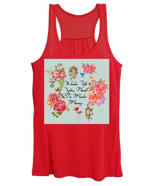 Typography Flowers  Women's Tank Top