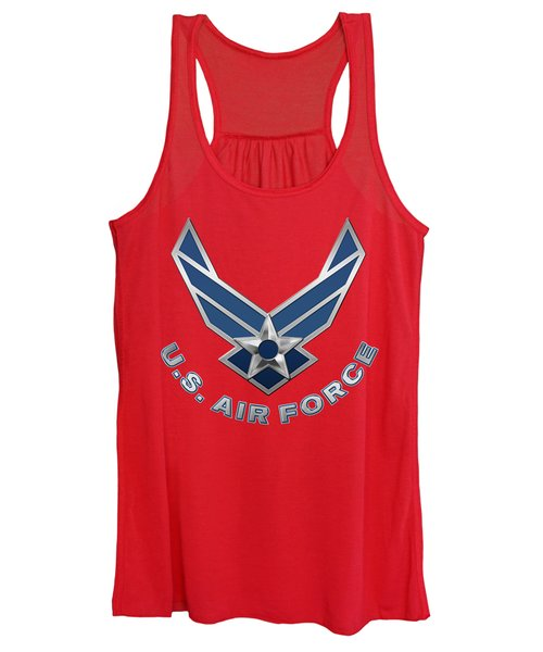 U. S. Air Force  -  U S A F Logo On Red Leather Women's Tank Top