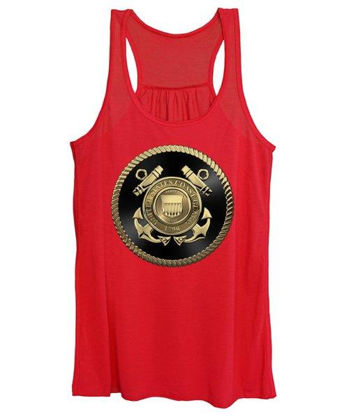 U. S.  Coast Guard  -  U S C G Emblem Black Edition Over Red Velvet Women's Tank Top
