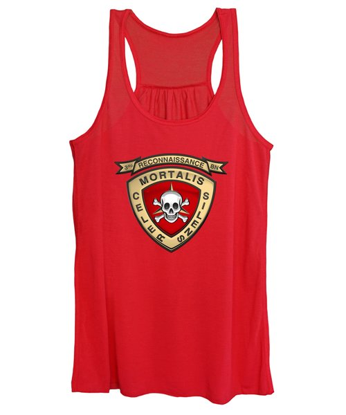 U S M C  3rd Reconnaissance Battalion -  3rd Recon Bn Insignia Over Red Velvet Women's Tank Top