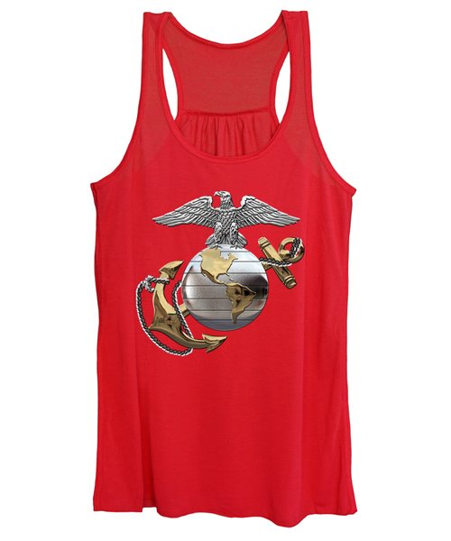 U S M C Eagle Globe And Anchor - C O And Warrant Officer E G A Over Red Velvet Women's Tank Top