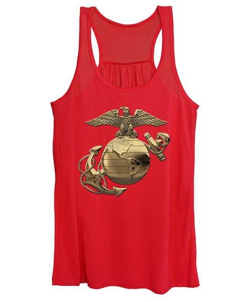 U S M C Eagle Globe And Anchor - N C O And Enlisted E G A Over Red Velvet Women's Tank Top