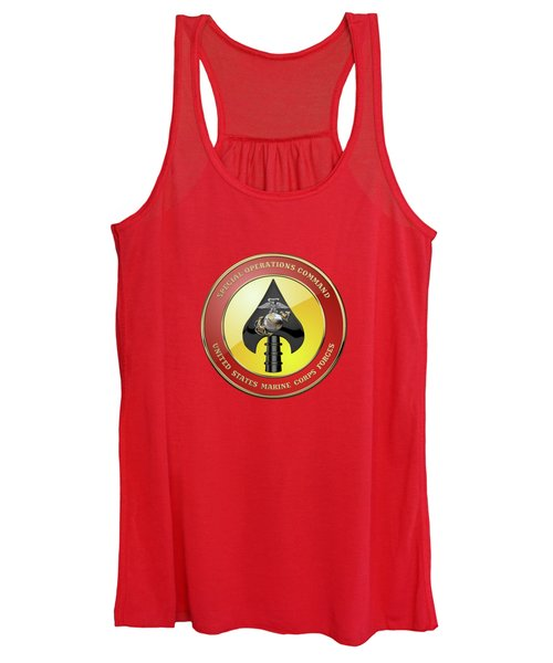 U S M C  Forces Special Operations Command -  M A R S O C  Seal Over Red Velvet Women's Tank Top