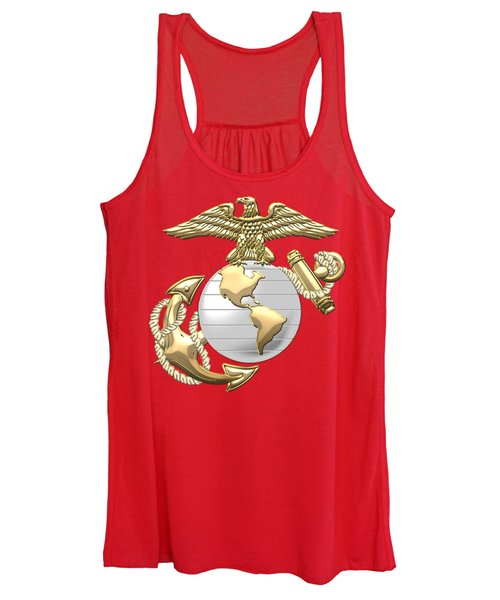 U. S. Marine Corps Eagle Globe And Anchor - E G A On Red Leather Women's Tank Top