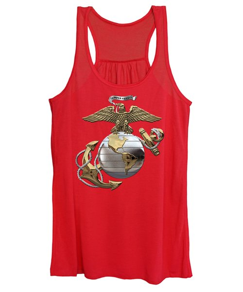 U. S.  Marine Corps - U S M C Eagle Globe And Anchor Over Corps Flag Women's Tank Top