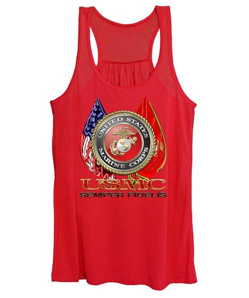 U. S. Marine Corps U S M C Emblem On Red Women's Tank Top
