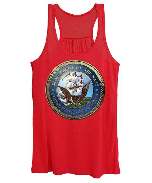 U. S.  Navy  -  U S N Emblem Over Red Velvet Women's Tank Top