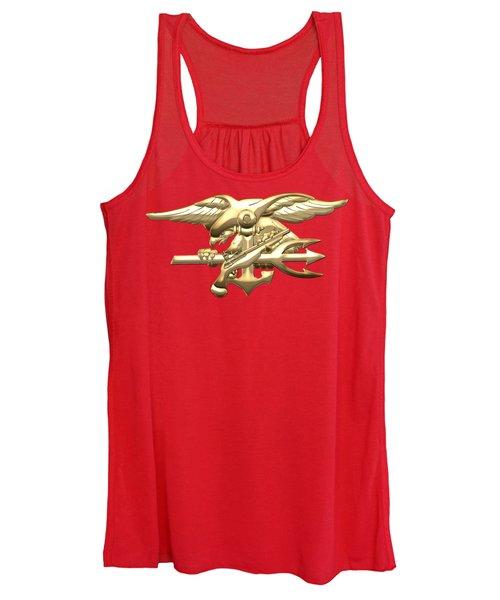 U. S. Navy S E A Ls Emblem On Red Velvet Women's Tank Top