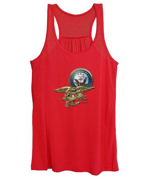U. S. Navy S E A Ls Trident Over Red Velvet Women's Tank Top