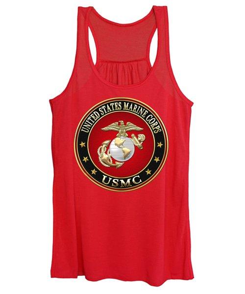 U S M C Eagle Globe And Anchor - E G A On Red Velvet Women's Tank Top