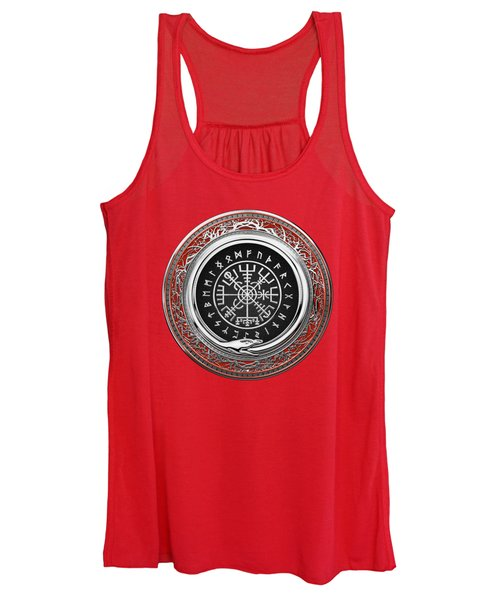 Vegvisir - A Silver Magic Viking Runic Compass On Red Leather  Women's Tank Top