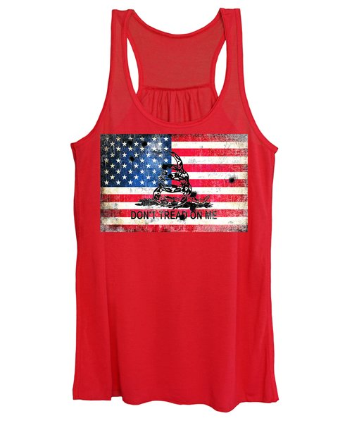 Viper N Bullet Holes On Old Glory Women's Tank Top
