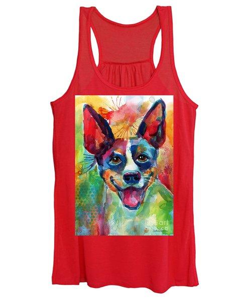 Whimsical Rat Terrier Dog Painting Women's Tank Top