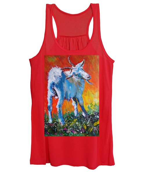 White Goat Painting - Scratching My Back Women's Tank Top