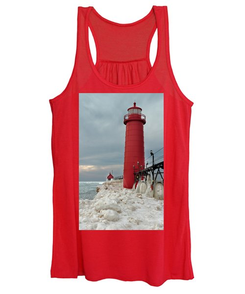 Winter At Grand Haven Lighthouse Women's Tank Top