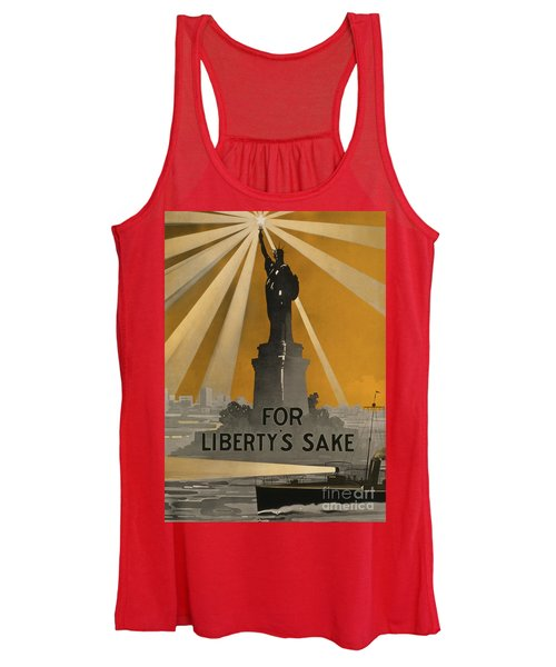 World War One Recruiting Poster With The Statue Of Liberty Women's Tank Top