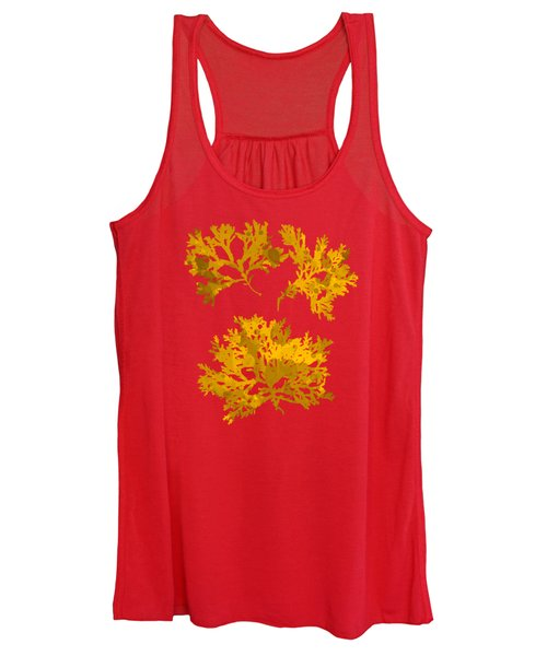 Women's Tank Top featuring the mixed media Yellow Gold Seaweed Art Delesseria Alata by Christina Rollo
