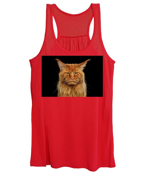 Angry Ginger Maine Coon Cat Gazing On Black Background Women's Tank Top