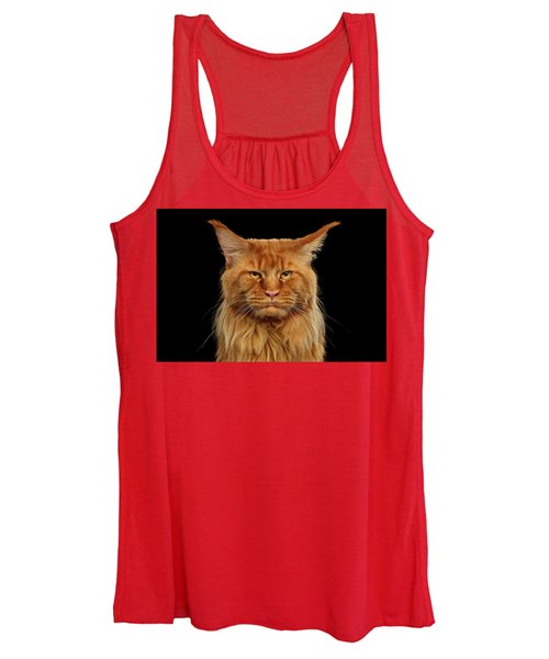 703a6b623dfd1 Angry Ginger Maine Coon Cat Gazing On Black Background Women s Tank Top