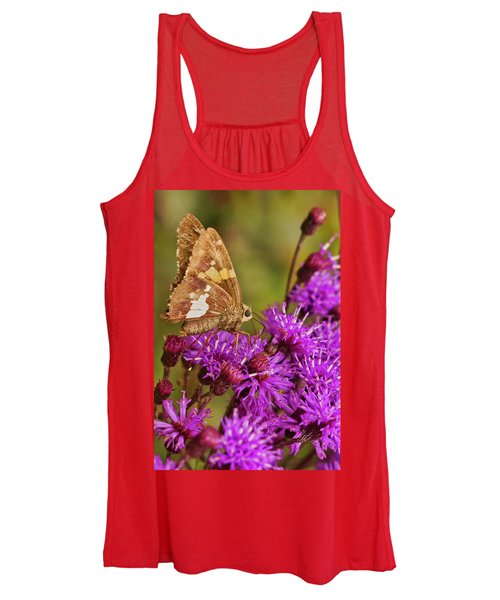 Moth On Purple Flowers Women's Tank Top