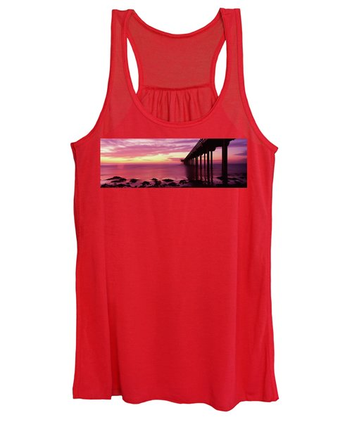 Silhouette Of A Pier In The Pacific Women's Tank Top