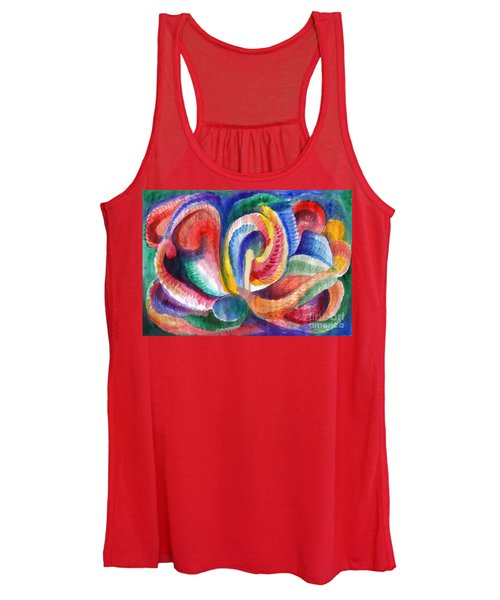 Women's Tank Top featuring the painting Abstraction Bloom by Irina Dobrotsvet