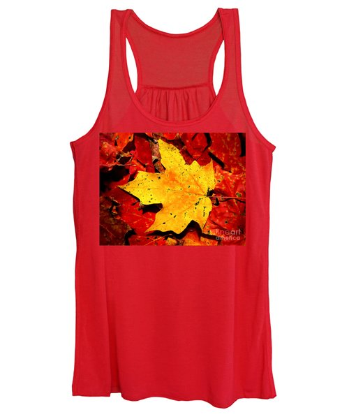 Autumn Beige Yellow Leaf On Red Leaves Women's Tank Top