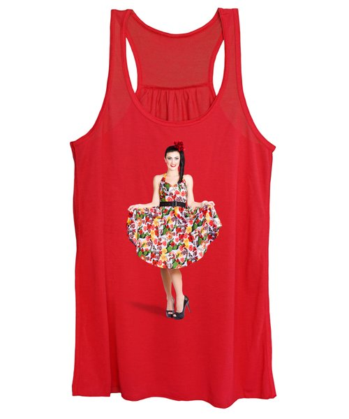 Beautiful Dancing Woman In Retro Red Dress Women's Tank Top