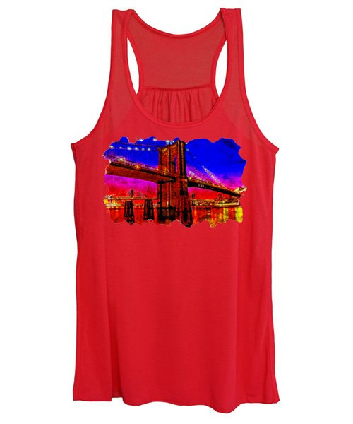Cityscaple Watercolor Drawing  - Suspension Bridge Women's Tank Top