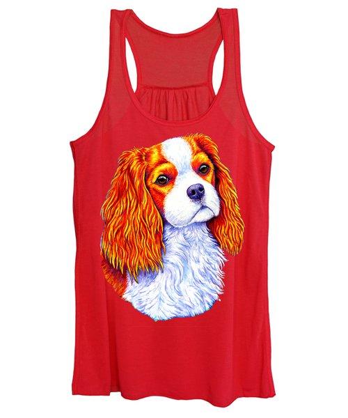Colorful Cavalier King Charles Spaniel Dog Women's Tank Top