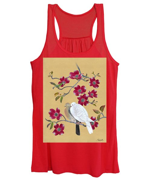 Doves In Red Dogwood Tree Women's Tank Top