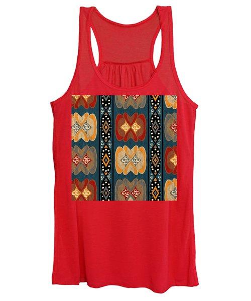 East African Heart And Diamond Stripe Pattern Women's Tank Top