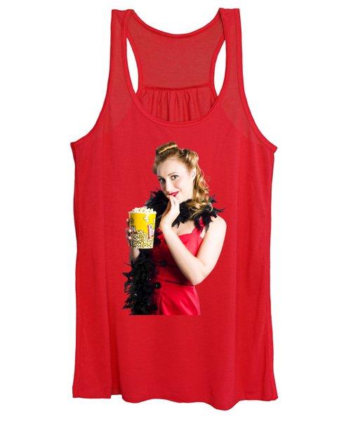 Glamorous Woman Holding Popcorn Women's Tank Top