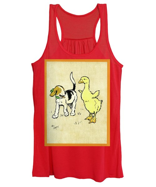 Illustration Of Puppy And Gosling Women's Tank Top