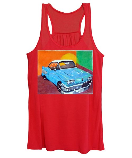 Women's Tank Top featuring the drawing Light Blue 1950s Car  by Loretta Nash