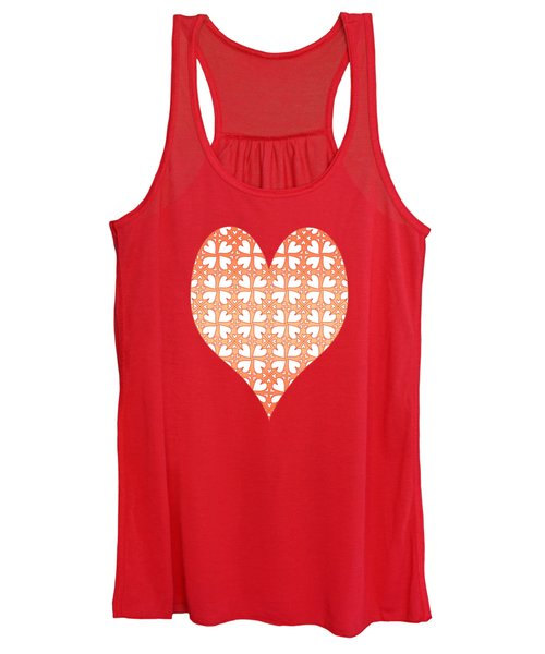 Living Coral Hearts Pattern Women's Tank Top
