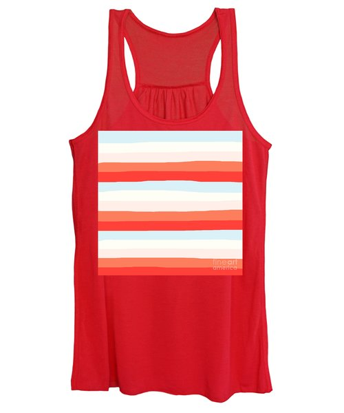lumpy or bumpy lines abstract and colorful - QAB268 Women's Tank Top