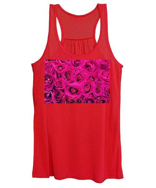 Magenta Roses Women's Tank Top