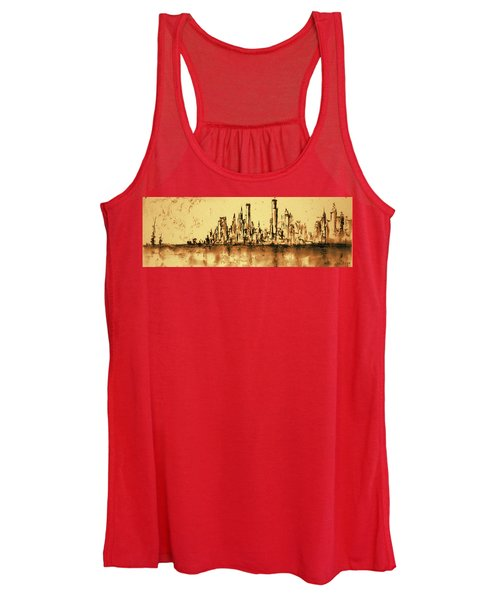 New York City Skyline 79 - Water Color Drawing Women's Tank Top