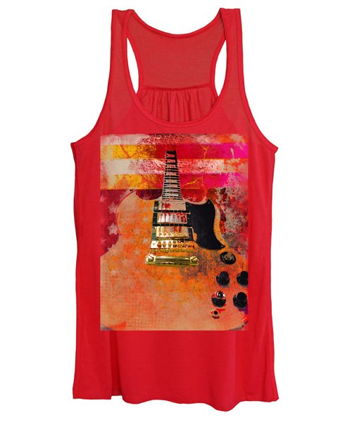 Orange Electric Guitar And American Flag Women's Tank Top