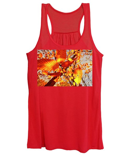 Orange Fall Leaves Women's Tank Top